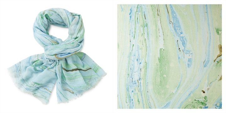 882709083917 marble print scarf blue $45.00 from Indigo