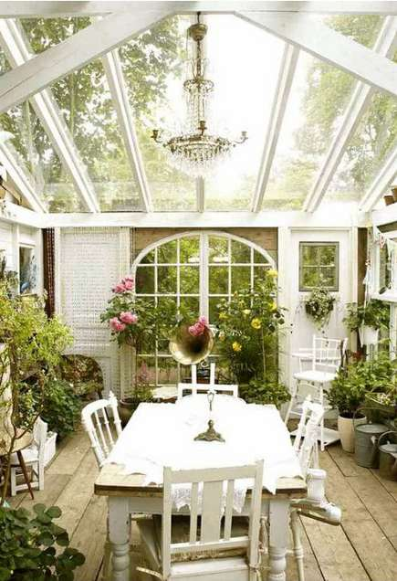Today 39 s idea extend your home with a green house for Conservatory dining room decorating ideas